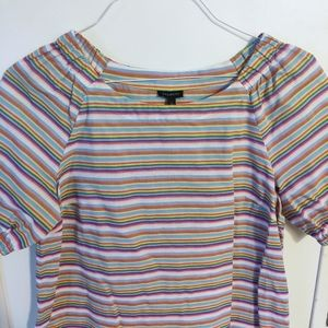 TALBOTS Rainbow Striped Short Sleeve Blouse S